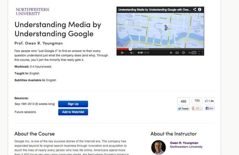 Medill Prof. Owen Youngman teaches a massive open online course on Google. Thousands enrolled in the course.