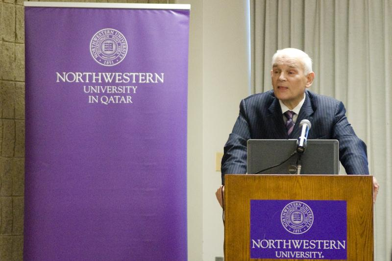 Northwestern University in Qatar Dean Everette Dennis speaks Wednesday at Norris University Center. Dennis updated attendees on the progress of NU-Q five years into the satellite campus' existence.