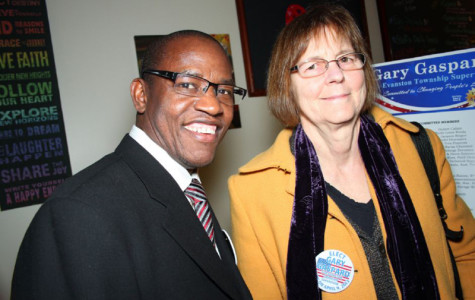 Evanston Township Supervisor Gary Gaspard poses with Mayor Elizabeth Tisdahl. Gaspard resigned from his position Thursday after less than five months on the job.