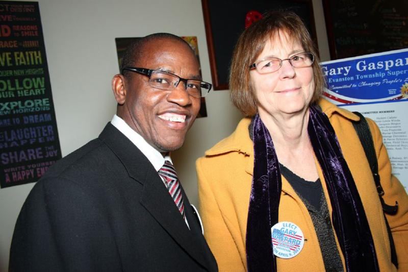 Evanston+Township+Supervisor+Gary+Gaspard+poses+with+Mayor+Elizabeth+Tisdahl.+Gaspard+resigned+from+his+position+Thursday+after+less+than+five+months+on+the+job.