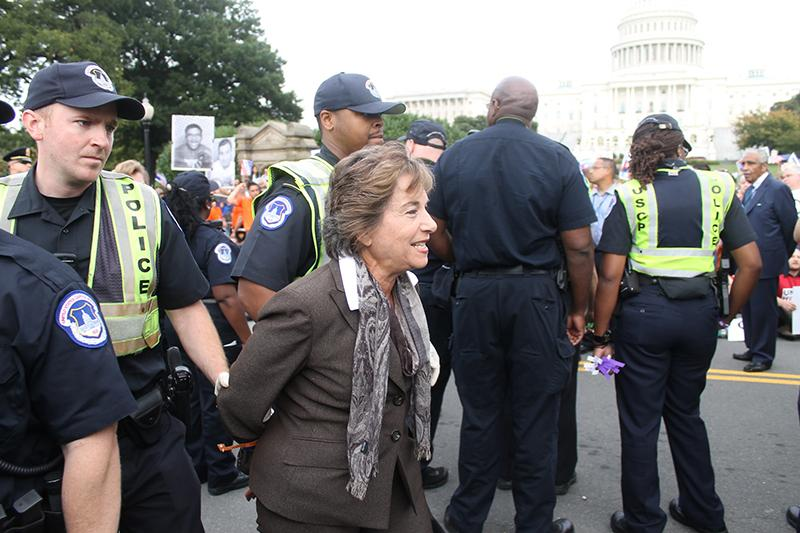 Rep. Jan Schakowsky( D-Evanston) is arrested Tuesday afternoon during an immigration reform protest in Washington, D.C. She was one of about 200 demonstrators taken into custody.
