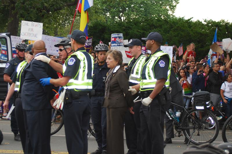 U.S. Rep. Jan Schakowsky (D-Evanston) was arrested Tuesday afternoon at an immigration reform rally in the nation's capital. She was released shortly after 7 p.m.