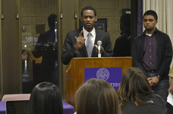 Medill-Bienen sophomore Thaddeus Tukes answers questions from Associated Student Government senators. Tukes was confirmed unanimously Wednesday night as ASG's associate vice president for diversity and inclusion.