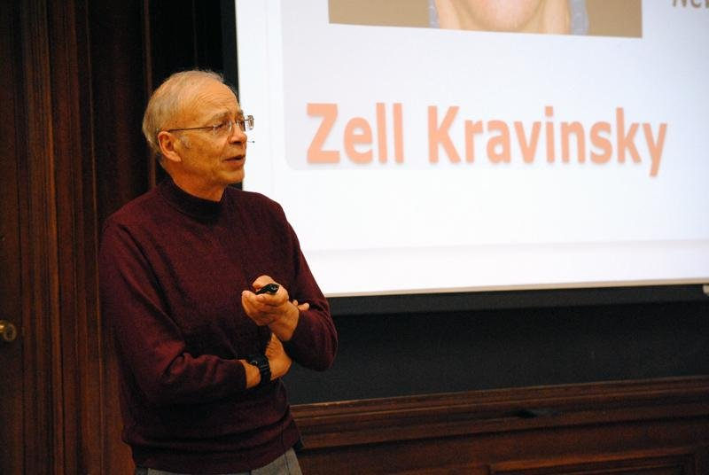 Peter Singer, a professor of bioethics at Princeton University, speaks about effective altruism on Wednesday night in Harris Hall. Singer's lecture was hosted by the Buffett Center as part of One Book One Northwestern's yearlong programming.
