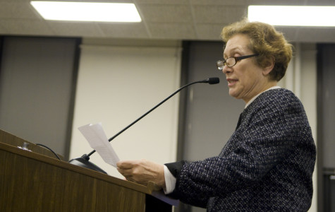 Evanston Township Assessor Bonnie Wilson speaks against dissolving the township at the special town board meeting Monday. The meeting was called in light of the recent resignation of township supervisor Gary Gaspard.
