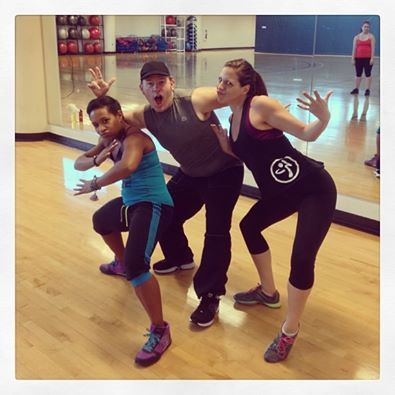 Zumba instructor David Fisher poses with fellow instructors Symphony Sanders and Meagan Knee.
