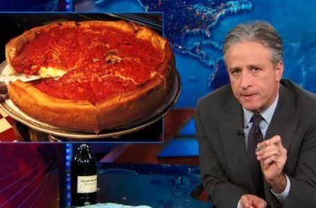 Jon Stewart ignites a Chicago vs. New York City pizza debate.