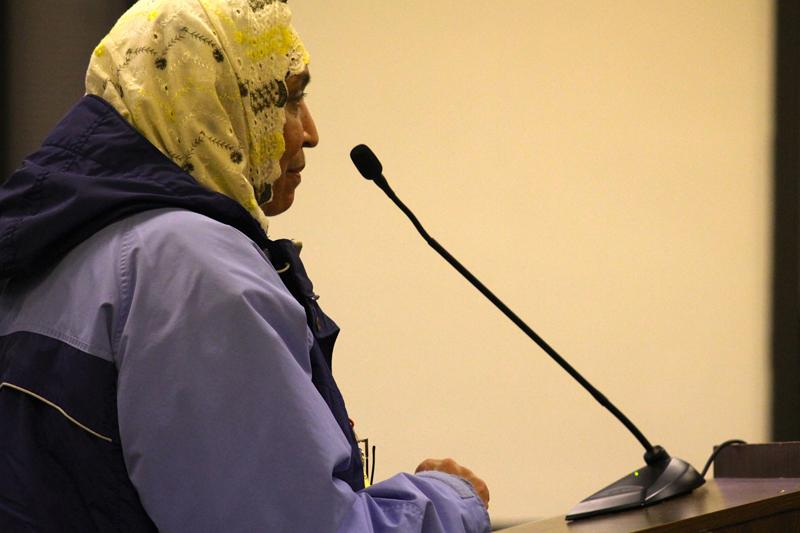 Mahjabeen Hakeem speaks Monday night during City Council. Hakeem's sons were shot and killed this summer in their tobacco shop in downtown Evanston.