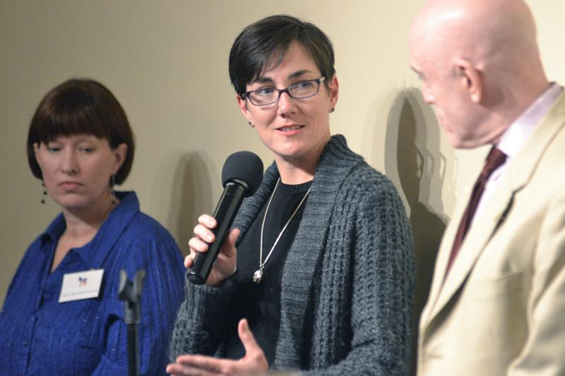 State Rep. Kelly Cassidy received an award Sunday night from the Democratic Party of Evanston. U.S. Rep. Jan Schakowsky presented awards to Cassidy, Rep. Greg Harris, and State Sen. Heather Steans for their work to promote the same-sex marriage bill that passed in Illinois last week.
