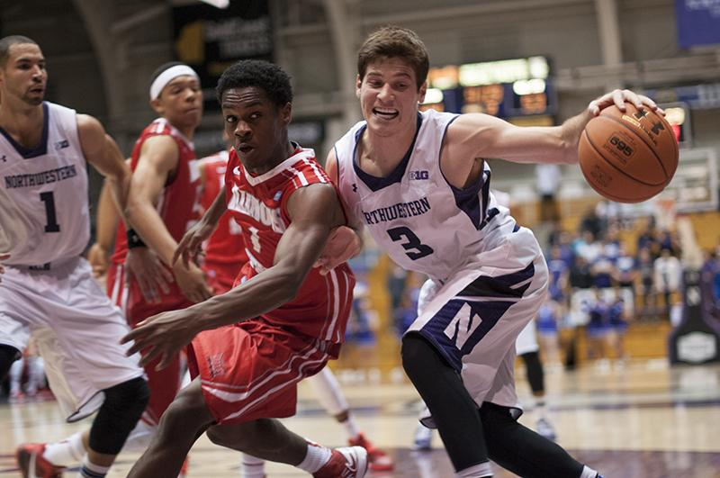 Junior+Guard+Dave+Sobolewski+forces+off+a+defender+in+Northwestern%E2%80%99s+unexpected+loss+to+Illinois+State.+The+Wildcats+doomed+themselves+to+a+game+of+catch-up%2C+falling+behind+by+as+much+as+19+points+in+the+second+half.