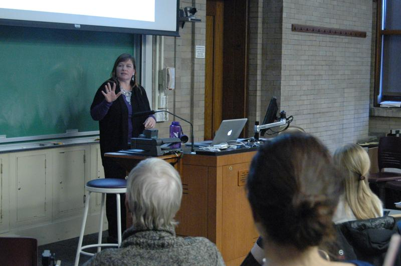 Prof.+Sara+Broaders+of+the+Department+of+Psychology+gives+her+ResTalk+on+lifehacks+in+Swift+Hall+on+Saturday%2C+Nov.+9.+The+event+featured+three+other+professors+that+lectured+on+a+variety+of+topics%2C+from+the+U.S.+economy%E2%80%99s+national+debt+to+the+study+of+electronics+in+the+classroom.+