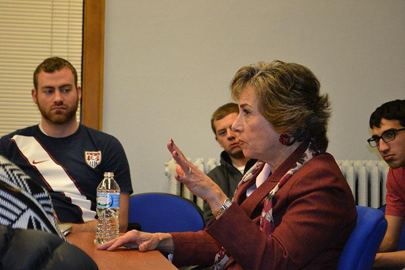 Rep. Jan Schakowsky (D-Evanston) speaks Wednesday at the Buffett Center at a Political Union event. Schakowsky answered questions about the flawed rollout of the Affordable Care Act and climate change at the event.