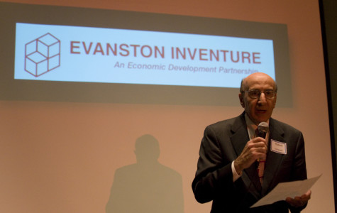 Robert Yohanan, CEO of Evanston-based First Bank & Trust, opens the NU Startup Showcase. The event was held at the Hilton Orrington Wednesday afternoon.