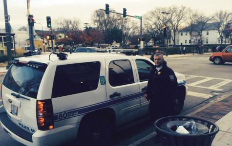 Evanston Police Chief Richard Eddington patrolled Friday evening near Evanston Township High School, 1600 Dodge Ave. The Evanston Police Department live-tweeted his patrol in what it called a