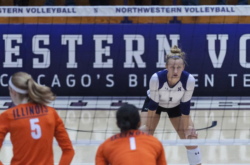 Outside+hitter+Stephanie+Holthus+slammed+down+17+kills+in+Lincoln%2C+Neb.%2C+and+burned+her+mark+in+the+Northwestern+record+books.+With+her+performance+against+Nebraska%2C+the+senior+is+now+the+all-time+leader+in+kills+with+1%2C673.