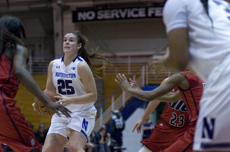 Sophomore Maggie Lyon scored 14 points in the Wildcats' victory over Illinois-Chicago on Sunday. The guard sank two of Northwestern's five baskets from behind the arc. She was out on the court longer than any of her teammates.