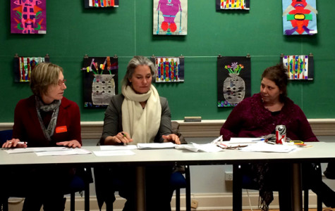 Evanston Arts Council co-chairs Anne Berkeley and Lisa Degliatoni, as well as Cultural Arts Coordinator Jennifer Lasik, lead the council's meeting Tuesday night. The council offered recommendations for the use of the Noyes Cultural Arts Center.
