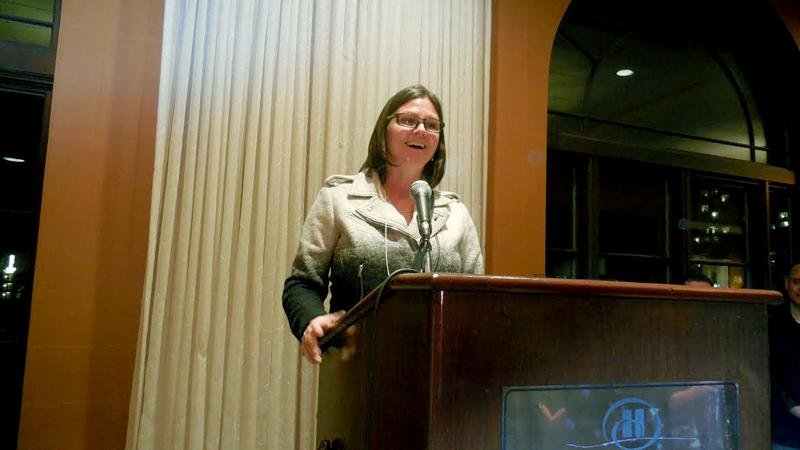 Rebecca Berneck, the new president of the Evanston Chamber of Commerce, addresses a crowd of about 200. The 94th Annual Celebration and Awards was held at the Hilton Orrington/Evanston on Tuesday evening to honor two members of Evanston's business community.