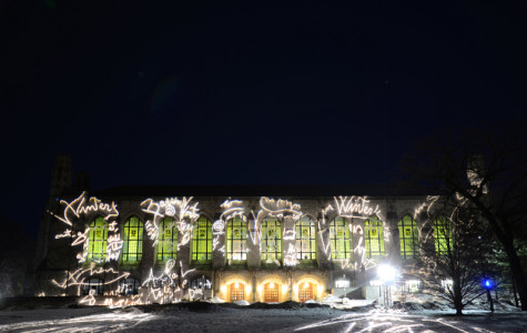 Italian artist lights up Deering Library in the dead of winter
