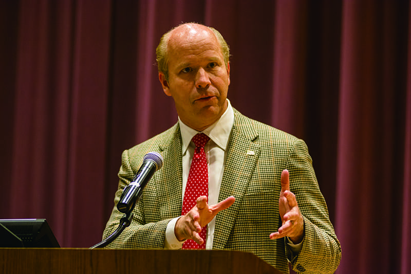 U.S.+Rep.+John+Delaney+%28D-Md.%29+speaks+to+Northwestern+students+at+Mccormick+Auditorium.+Delaney+discussed+the+country%27s+fiscal+problems+and+their+effect+on+young+Americans.