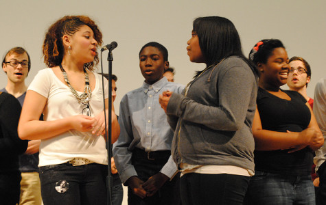 Evanston Township High School sophomores Leslee Muckleroy (left) and Angela Zachery sing Bill Withers'