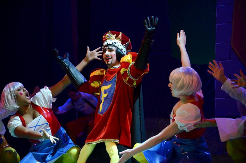 Communication+sophomore+Zachary+Freier-Harrison+plays+the+role+of+Lord+Farquaad+in+%E2%80%9CShrek+The+Musical.%E2%80%9D+The+show+will+run+from+Jan.+24+through+Feb.+1.