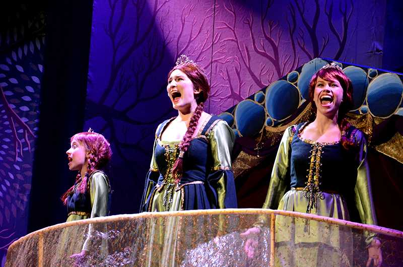 "Isabelle Roberts, Communication sophomore Caroline Hatch and Communication senior Lauren Lenke played the role of Fiona in the Dolphin Show's ""Shrek The Musical."" This year marks the show's 72nd production."