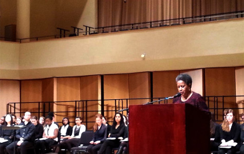 Myrlie Evers-Williams delivers the concluding keynote address for Northwestern's Martin Luther King Jr. Day celebration Monday evening. Evers-Williams is a civil rights activist and former chairperson of the National Association for the Advancement of Colored People.