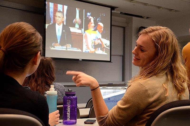 Northwestern+students+watch+President+Barack+Obama%E2%80%99s+State+of+the+Union+address+Tuesday+night.+College+Democrats+held+a+viewing+party+in+the+McCormick+Tribune+Center.%0D%0A