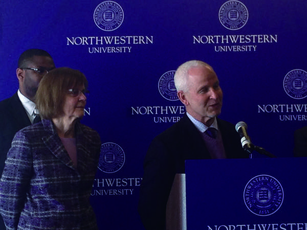Evanston Mayor Elizabeth Tisdahl and University President Morton Schapiro discuss the new Workforce Development Program on Thursday. The initiative will provide campus construction jobs to Evanston residents.
