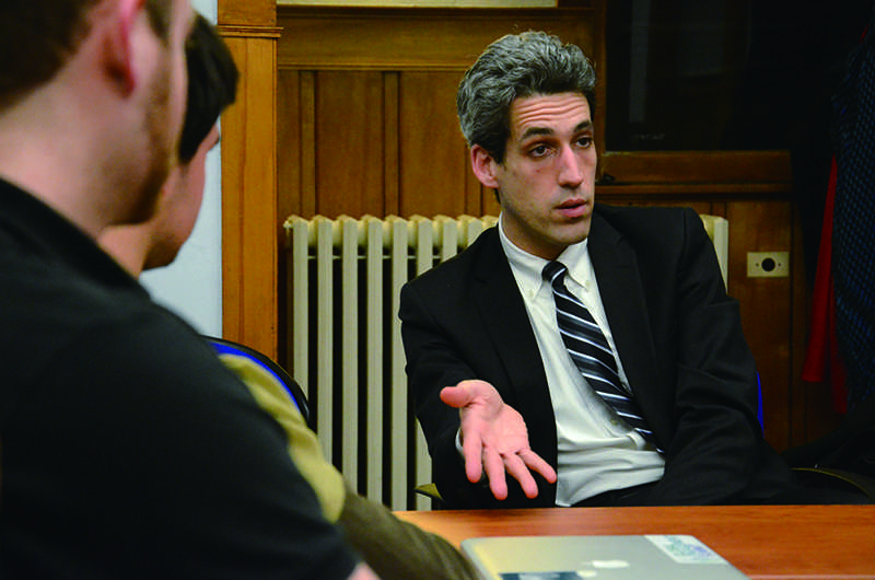 State+Sen.+Daniel+Biss+speaks+at+the+Buffett+Center+on+Monday+night.+Biss+spent+the+majority+of+the+event+answering+students%27+questions+and+talking+about+the+pension+crisis%2C+the+process+of+running+a+political+campaign+and+his+beliefs+on+an+individual%27s+role+in+democracy.