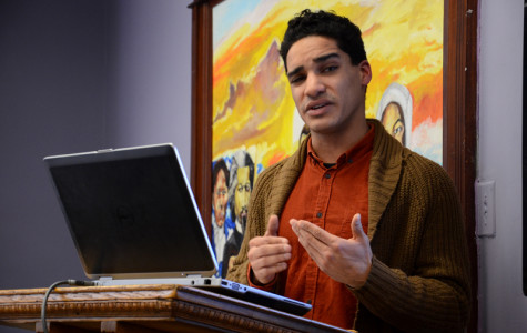 Weinberg senior Amrit Trewn gives a talk on interracial sexuality on Wednesday. The presentation on sexual violence in communities of color was co-sponsored by CARE and the Gender and Sexuality Studies Undergraduate Advisory Board.