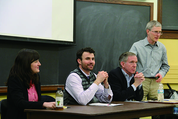 Panelists discuss whether Northwestern should continue to invest in fossil fuels. Northwestern University Responsible Endowment Coalition hosted the event Thursday night in Harris Hall.