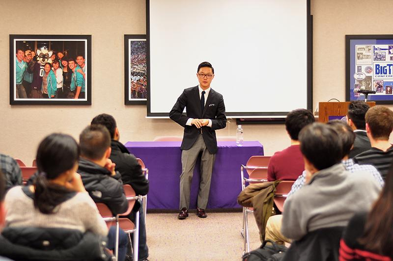 Former White House Associate Director of Public Engagement Ronnie Cho speaks Monday at Norris University Center about the national debt. Northwestern's chapter of Moneythink organized the talk.