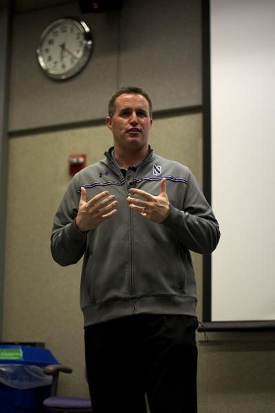 "Northwestern football coach Pat Fitzgerald speaks at a Medill sports movie night Monday in Louis Hall. ""Remember the Titans"" was screened."