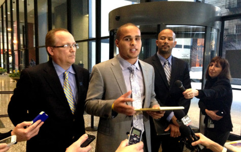 Former Northwestern quarterback Kain Colter — standing with National College Players Association president Ramogi Huma and United Steelworkers political director Tim Waters — addressed the media Tuesday after answering questions from attorneys for more than six hours at a National Labor Relations Board hearing.