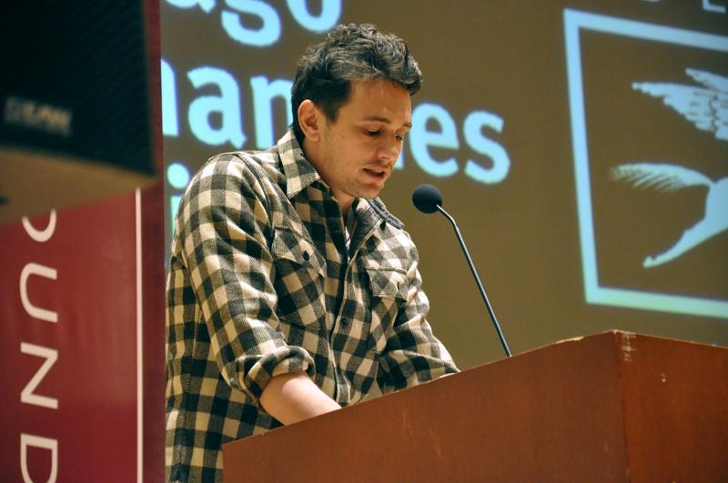 James Franco, an actor, poet and filmmaker, speaks at the Chicago Humanities Festival Wednesday night at Northwestern's Chicago campus. Franco debuted his new poetry collection at the festival.