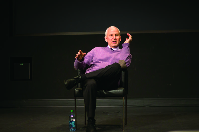 University President Morton Schapiro addresses concerns of student financial situations Monday afternoon at the McCormick Tribune Center. The event was hosted by Northwestern's chapter of Quest Scholars.