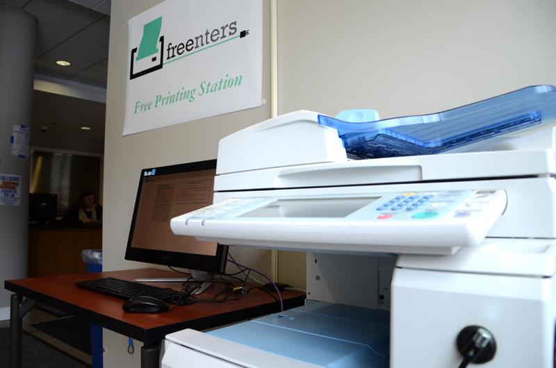 A Freenters station is set up in the Allison lobby. The new startup offers free printing at various locations around campus.