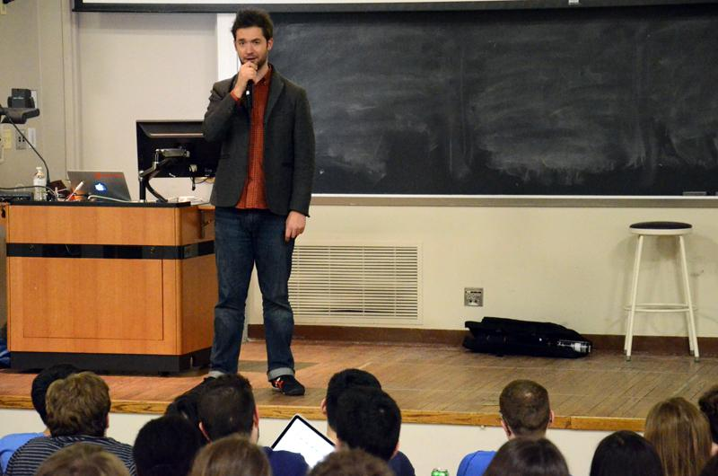 Alexis Ohanian, cofounder of Reddit, speaks at Fisk Hall on Wednesday evening as part of his Without Their Permission book tour. Ohanian talked about founding Reddit, how to be a successful entrepreneur and the importance of the internet.