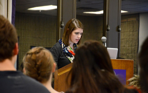 Katie Funderburg, Associated Student Government speaker of the senate, calls roll. Senate approved a change in the election process for academic vice president and student life vice president.