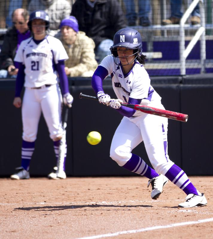 Senior Mari Majam, a veteran on a Northwestern squad that includes four freshmen and a transfer student, bunts. Majam said the young players have transitioned smoothly from their high school days and the team should be ready for its season opener this weekend in Tempe, Ariz.