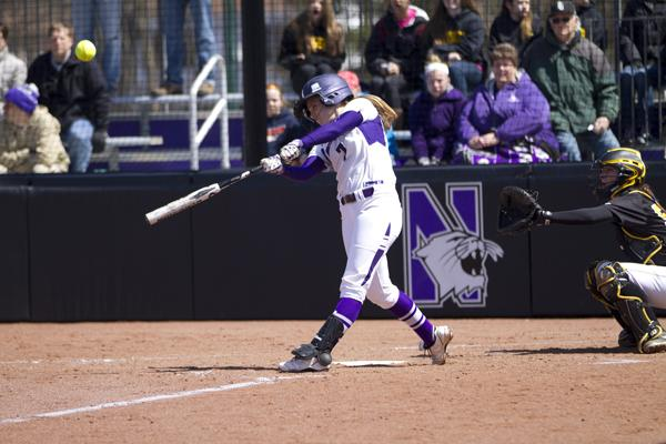 Junior Anna Edwards sends a ball into left field. Edwards nailed a 3-run home run in the fifth inning of Northwestern's 4-2 win over No. 3 Washington on Friday.