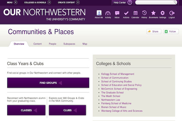 Alumni of the Medill School of Journalism, Media, Integrated Marketing Communications may start to communicate through the Our Northwestern portal later this year after their email list is discontinued May 30. Users can incorporate other social media accounts into their profiles.