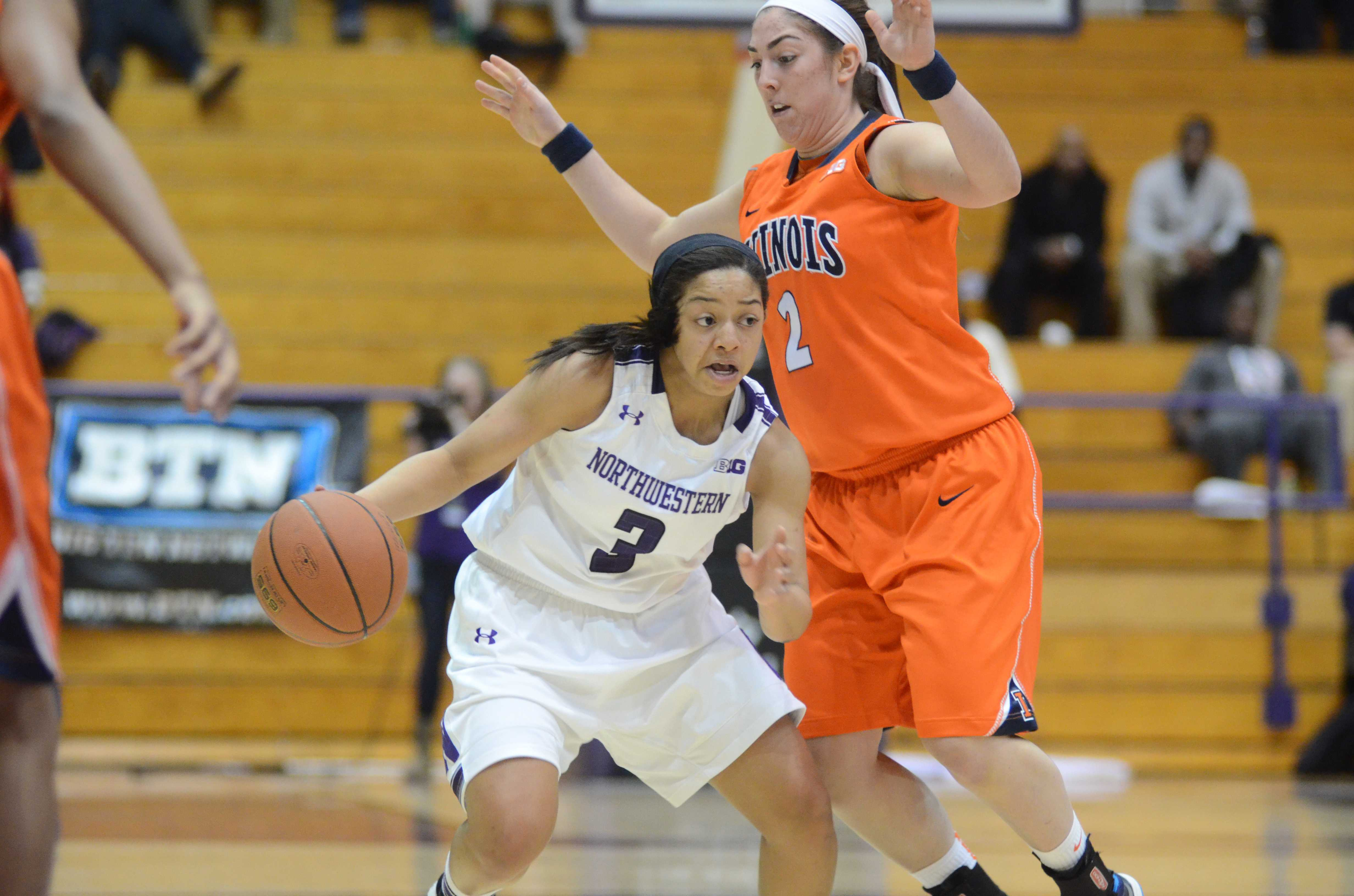 Freshman point guard Ashley Deary and Northwestern tripped up on Senior Night, falling 75-44 at home to Michigan State. The Spartans outscored the Wildcats by 22 points in a one-sided second half.
