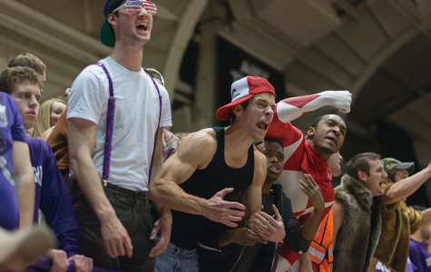 Students cheer on Northwestern's basketball team Saturday against Nebraska. Wildside, NU's student section, has been working on different theme days in an effort get more students to attend basketball games.