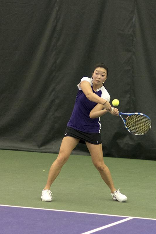 Senior Veronica Corning prepares to send a return cross court. No. 30 Corning's 6-1, 4-6, 6-3 singles win against Indiana's No. 65 Katie Klyczek sealed Northwestern's victory.