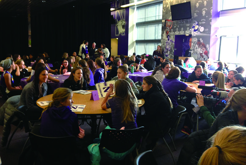 Northwestern hosted National Girls and Women in Sports Day on Saturday at Welsh-Ryan Arena. Kelly Amonte Hiller, Northwestern women's lacrosse coach, spoke at the event.