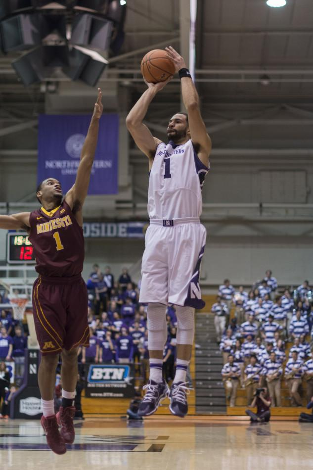 Senior forward Drew Crawford was off-target all night Sunday, as Northwestern's offense sputtered to three points over a critical 10 minutes late in the Minnesota loss.