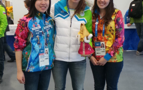 Weinberg freshman Annalie Jiang (left) poses with Slovenian skier Tina Maze. Jiang spent four weeks working as a translator at the Sochi Winter Olympics.